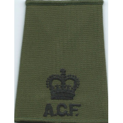 ACF Major (Army Cadet Force) Rank Slide Black On Olive Green with Queen Elizabeth's Crown. Embroidered Officer rank badge