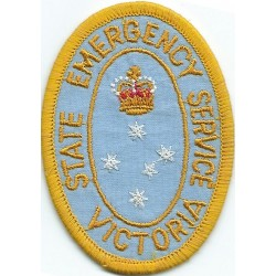 Australia: Victoria State Emergency Service Arm-Badge with Queen Elizabeth's Crown. Embroidered Fire and Rescue Service insignia