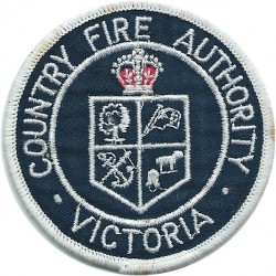 Australia: Victoria Country Fire Authority Arm-Badge with Queen Elizabeth's Crown. Embroidered Fire and Rescue Service insignia