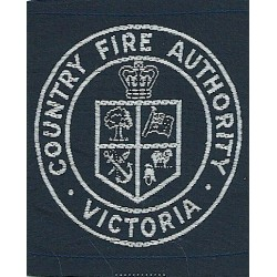Australia: Victoria Country Fire Authority Arm-Badge with Queen Elizabeth's Crown. Woven Fire and Rescue Service insignia