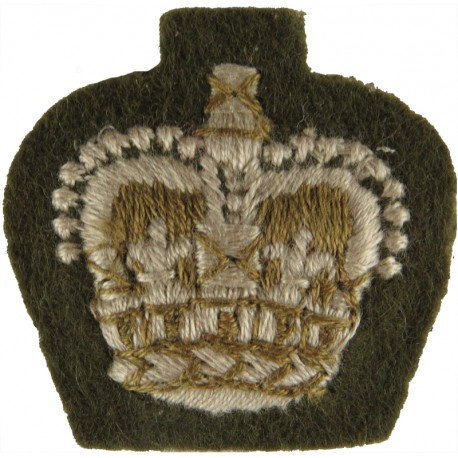 ACF Major (Army Cadet Force) Rank Slide On Beige For Shirt with Queen Elizabeth's Crown. Embroidered Officer rank badge