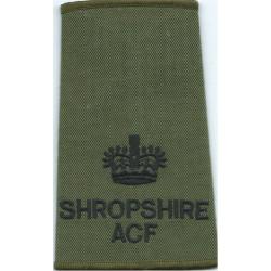 Shropshire ACF Major - Black On Olive Green Rank Slide with Queen Elizabeth's Crown. Embroidered Officer rank badge