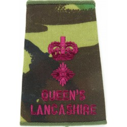 Brigadier Sand Rank Slide (Green-Edged Pips & Crown) Intelligence Corps Queen's Crown. Embroidered Officer rank badge