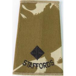 Staffords Second Lieutenant Rank Slide Black On Desert Camo  Embroidered Officer rank badge