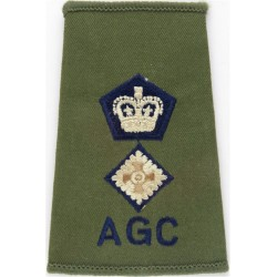 AGC Lieutenant Colonel (Adjutant General's Corps) Rank Slide On Olive with Queen Elizabeth's Crown. Embroidered Officer rank bad