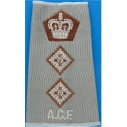 ACF Lieutenant Colonel (Army Cadet Force) Rank Slide On Beige For Shirt with Queen Elizabeth's Crown. Embroidered Officer rank b