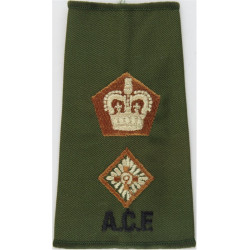 ACF Lieutenant Colonel (Army Cadet Force) Rank Slide Colour On Olive with Queen Elizabeth's Crown. Embroidered Officer rank badg