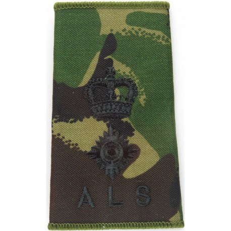 ALS - Lieutenant Colonel Army Legal Services Slide Black On DPM Camo with Queen Elizabeth's Crown. Embroidered Officer rank badg