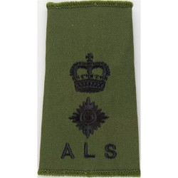 ALS - Lieutenant Colonel Army Legal Services Slide Black On Olive Green with Queen Elizabeth's Crown. Embroidered Officer rank b