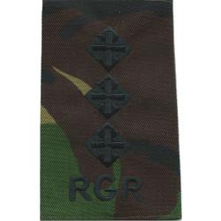 RGR - Captain (Royal Gurkha Rifles) - Rank Slide Black On DPM Camo  Embroidered Officer rank badge