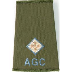 AGC - 2nd Lieut (Adjutant General's Corps) Sky Blue Rank Slide On Olive  Embroidered Officer rank badge
