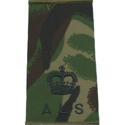ALS - Major - Army Legal Services Rank Slide Black On DPM Camo with Queen Elizabeth's Crown. Embroidered Officer rank badge