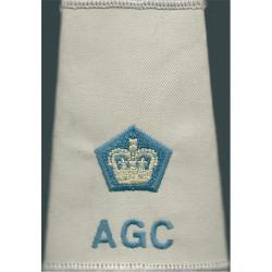 AGC - Major (Adjutant General's Corps) - Sky Blue Beige Shirt Slide with Queen Elizabeth's Crown. Embroidered Officer rank badge