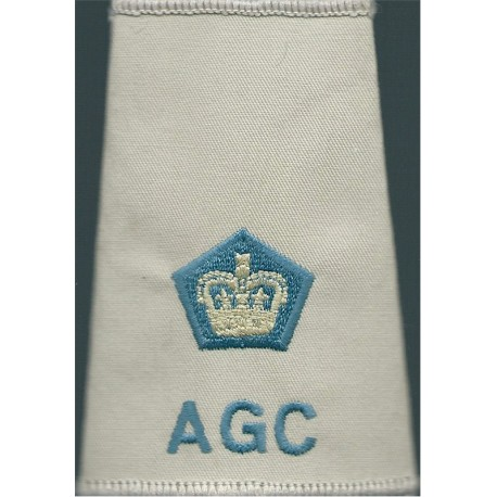 AGC ETS Lieutenant Colonel (Adjutant General's Corps Beige Shirt Slide with Queen Elizabeth's Crown. Embroidered Officer rank ba