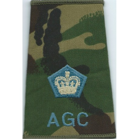 AGC - Major (Adjutant General's Corps) - Sky Blue DPM Camo Rank Slide with Queen Elizabeth's Crown. Embroidered Officer rank bad