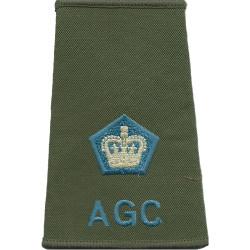 AGC - Major (Adjutant General's Corps) - Sky Blue Rank Slide On Olive with Queen Elizabeth's Crown. Embroidered Officer rank bad