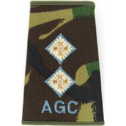 The Highlanders Brigadier - Black On Camouflage Rank Slide 1994-2006 with Queen Elizabeth's Crown. Embroidered Officer rank badg