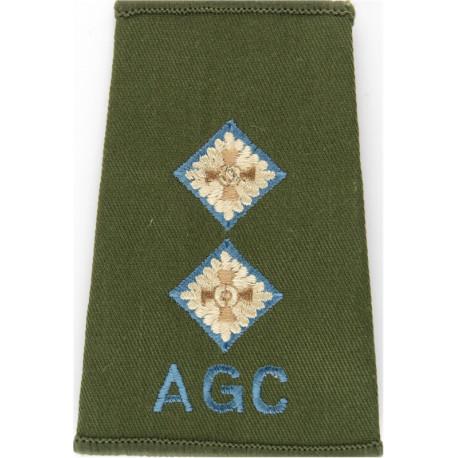 AGC - Lieutenant (Adjutant General's Corps) Sky Blue Rank Slide On Olive  Embroidered Officer rank badge