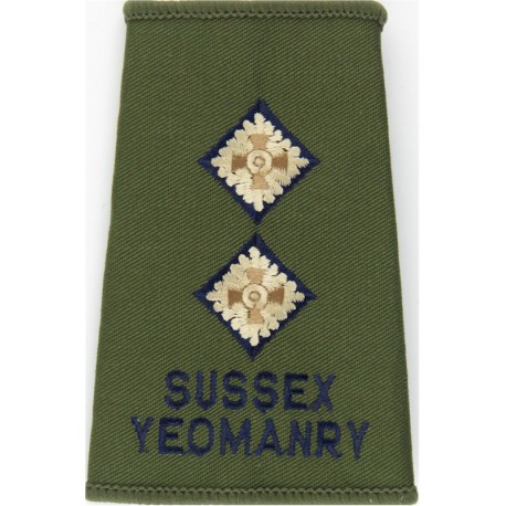 Sussex Yeomanry - Lieutenant Olive Rank Slide  Embroidered Officer rank badge