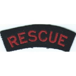 Rescue (Curved Shoulder Title) Red On Dark Blue  Embroidered Fire and Rescue Service insignia