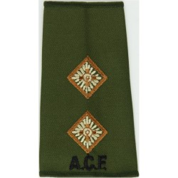 ACF Lieutenant (Army Cadet Force) Rank Slide - Olive Brown-Edged Pips  Embroidered Officer rank badge