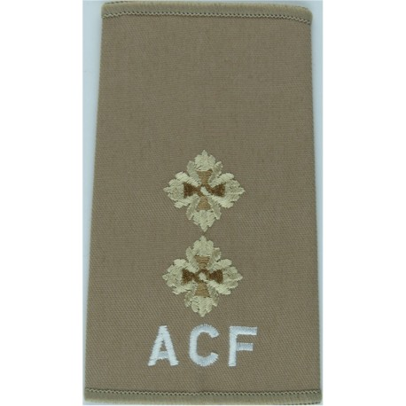 ACF Lieutenant (Army Cadet Force) Rank Slide On Beige For Shirt  Embroidered Officer rank badge