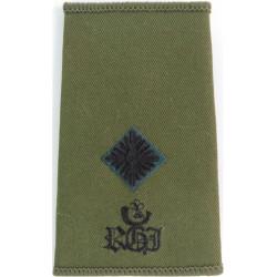 Royal Green Jackets - Second Lieutenant + Bugle Rank Slide On Olive  Embroidered Officer rank badge