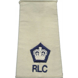 Second Lieutenant (R Logistic Corps Maritime) Black/ Navy Blue Rank Slide  Embroidered Officer rank badge