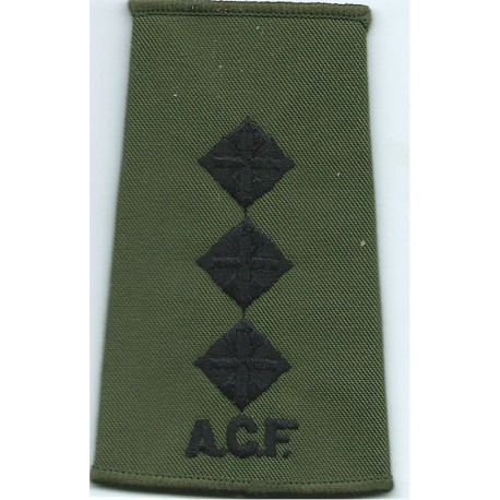 ACF Captain (Army Cadet Force) Rank Slide Black On Olive Green  Embroidered Officer rank badge