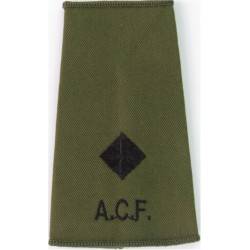 ACF Second Lieutenant (Army Cadet Force) Rank Slide Black On Olive Green  Embroidered Officer rank badge