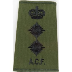 ACF Colonel (Army Cadet Force) Rank Slide Black On Olive Green with Queen Elizabeth's Crown. Embroidered Officer rank badge