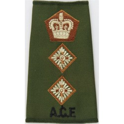 ACF Colonel (Army Cadet Force) Rank Slide Colour On Olive with Queen Elizabeth's Crown. Embroidered Officer rank badge