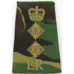 Officer's Rank Crown - On Red - Infantry Small On Pentagon with Queen Elizabeth's Crown. Embroidered Officer rank badge