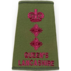Officer's Rank Crown - On Yellow - Cavalry Large Rounded Shape with Queen Elizabeth's Crown. Embroidered Officer rank badge