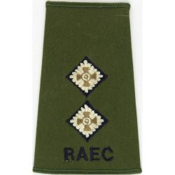 RAEC Lieutenant - Dark Blue/White On Olive Green Rank Slide  Embroidered Officer rank badge