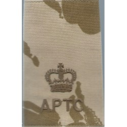 APTC Major (Army Physical Training Corps) Rank Slide On Desert Camouflage with Queen Elizabeth's Crown. Embroidered Officer rank