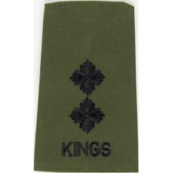 King's Regiment Lieutenent - Black On Olive Rank Slide  Embroidered Officer rank badge