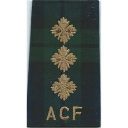 Black Watch ACF Captain Tartan Rank Slide  Embroidered Officer rank badge