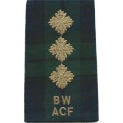 Black Watch ACF Captain (BW / ACF) Tartan Rank Slide  Embroidered Officer rank badge