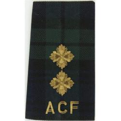 Black Watch ACF Lieutenant Tartan Rank Slide  Embroidered Officer rank badge