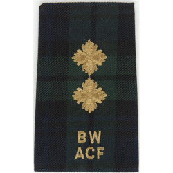 Black Watch ACF Lieutenant (BW / ACF) Tartan Rank Slide  Embroidered Officer rank badge