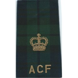 Black Watch ACF Major Tartan Rank Slide with Queen Elizabeth's Crown. Embroidered Officer rank badge