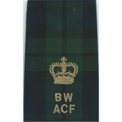 Black Watch ACF Major (BW / ACF) Tartan Rank Slide with Queen Elizabeth's Crown. Embroidered Officer rank badge