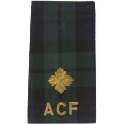 Black Watch ACF Second Lieutenant Tartan Rank Slide  Embroidered Officer rank badge
