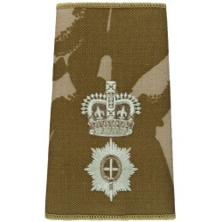 Coldstream Guards Lieutenant Colonel Rank Slide Desert Camouflage with Queen Elizabeth's Crown. Embroidered Officer rank badge