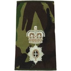 Coldstream Guards Lieutenant Colonel Rank Slide DPM Camouflage with Queen Elizabeth's Crown. Embroidered Officer rank badge