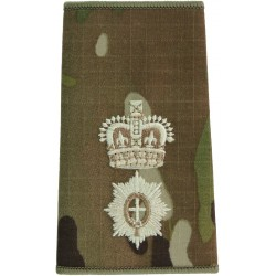 Coldstream Guards Lieutenant Colonel MTP Camo Rank Slide with Queen Elizabeth's Crown. Embroidered Officer rank badge