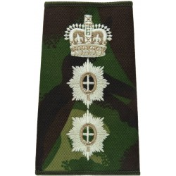 Coldstream Guards Colonel Rank Slide DPM Camouflage with Queen Elizabeth's Crown. Embroidered Officer rank badge