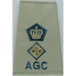 AGC ETS Lieutenant Colonel (Adjutant General's Corps Beige Shirt Slide with Queen Elizabeth's Crown. Embroidered Officer rank ba