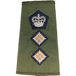 Colonel (Dark-Blue Edged Crown & Pips) On Olive Rank Slide with Queen Elizabeth's Crown. Embroidered Officer rank badge
